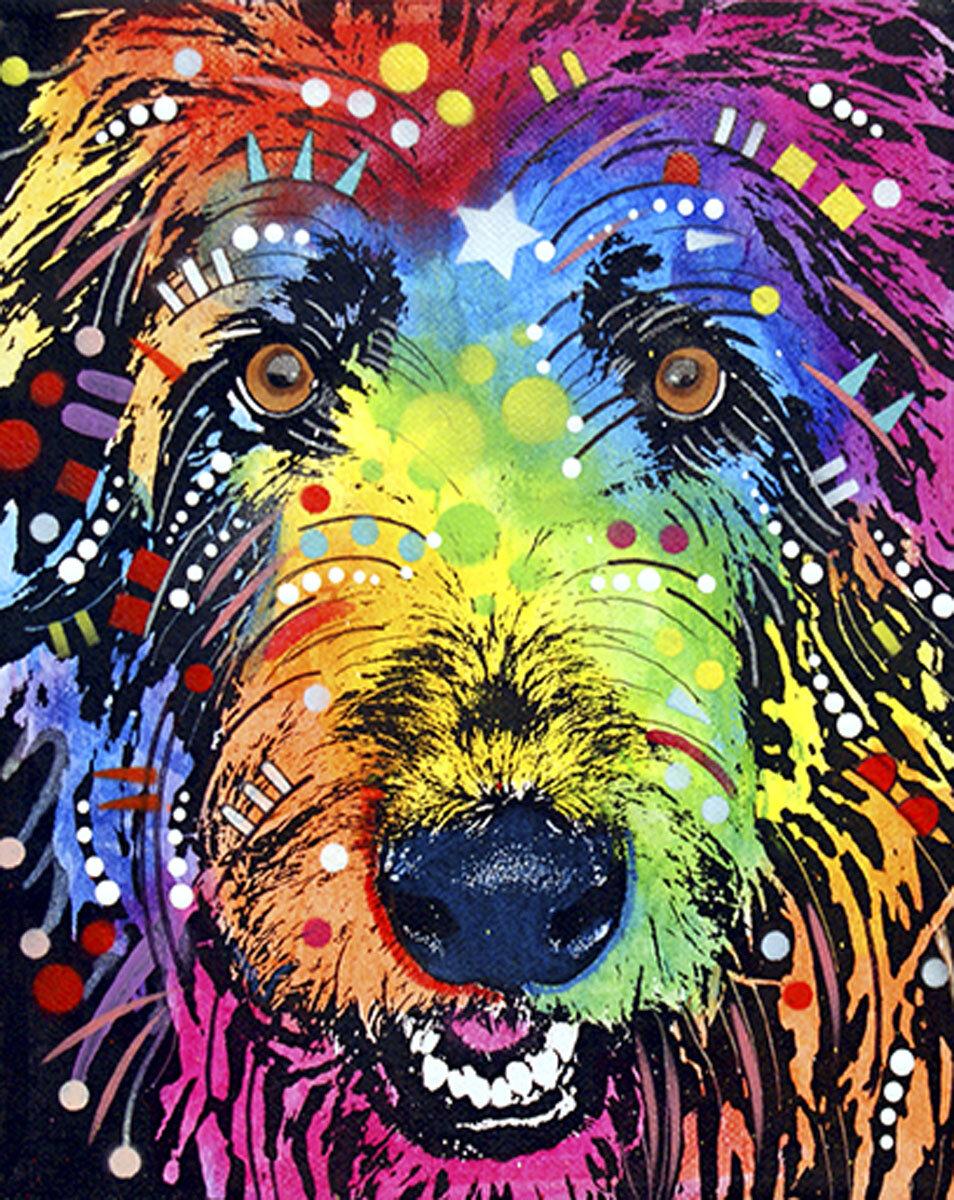 IRISH WOLFHOUND SLEEPING LOVELY VINTAGE STYLE DOG ART PRINT READY MATTED