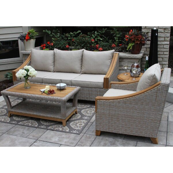 Kincaid 3 Piece Rattan Sofa Seating Group with Sunbrella Cushions by Rosecliff Heights