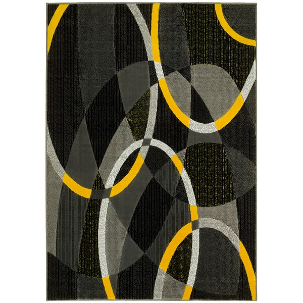 Circular Yellow/Gray Area Rug by LYKE Home