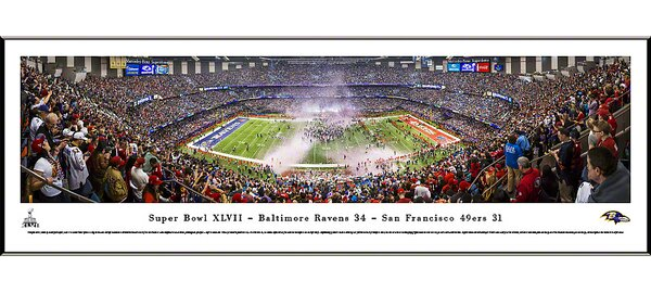NFL Super Bowl 2013 by Christopher Gjevre Standard Framed Photographic Print by Blakeway Worldwide Panoramas, Inc