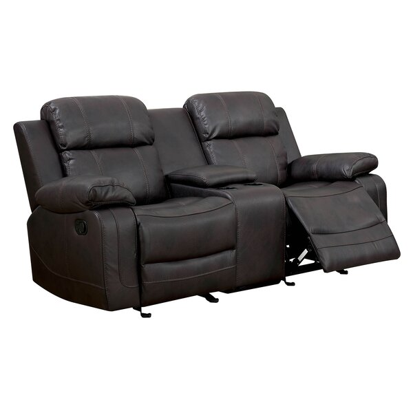 Helfrich Contemporary Love Seat Leather Power Wall Hugger Recliner by Red Barrel Studio