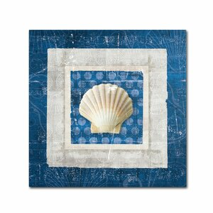 Sea Shell III on Blue by Belinda Aldrich Graphic Art on Wrapped Canvas by Trademark Fine Art