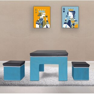 Online Reviews Kids' 3 Piece Square Table and Stool Set By Bintopia