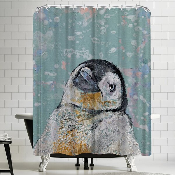 Michael Creese Baby Penguin Snowflakes Shower Curtain by East Urban Home