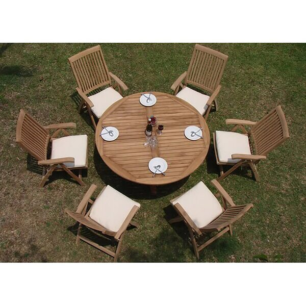 Kellen Luxurious 7 Piece Teak Dining Set by Rosecliff Heights