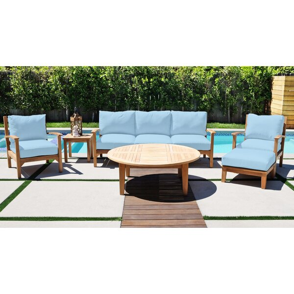 Crescio 8 Piece Teak Sofa Seating Group with Sunbrella Cushions by Foundry Select Foundry Select