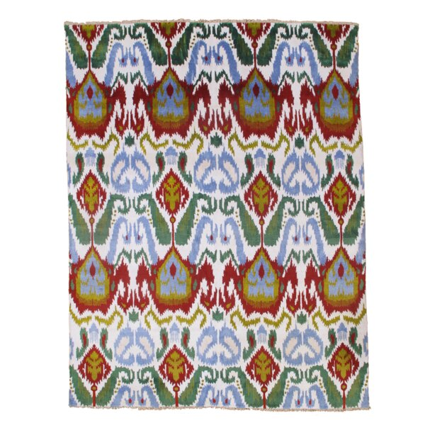 Modern Hand-Knotted Silk Ivory/Blue Area Rug by Pasargad NY
