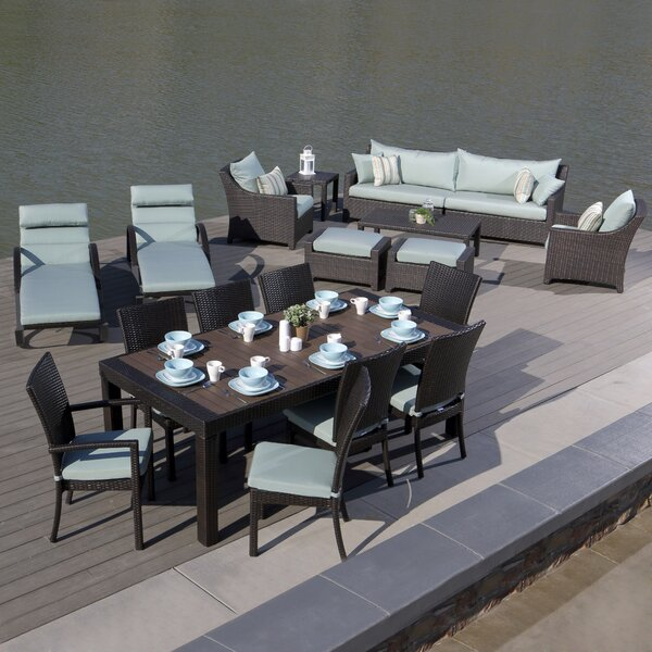 Northridge 19 Piece Rattan Complete Patio Set with Cushions by Three Posts