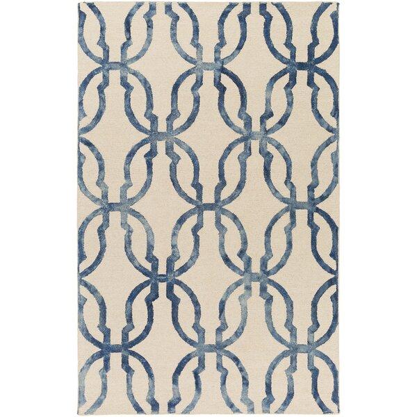 Glennon Hand-Tufted Slate Blue/Ivory Area Rug by Ivy Bronx