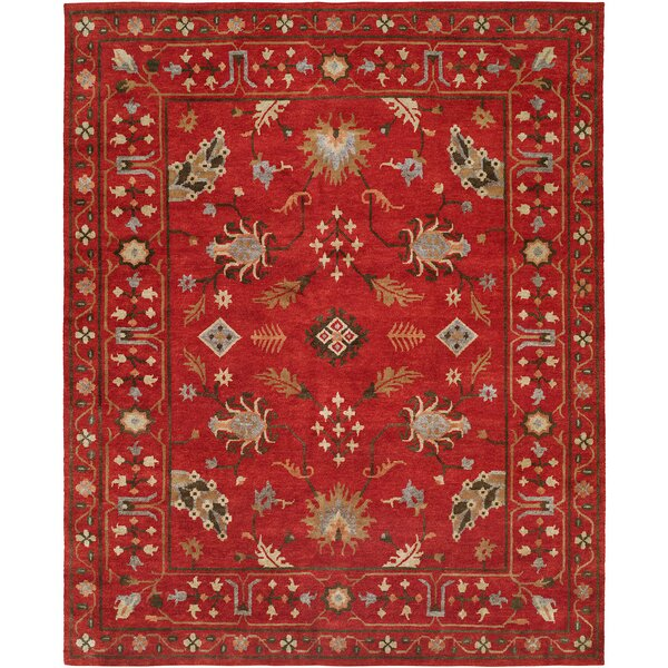 Priyansh Hand Knotted Wool Red Area Rug