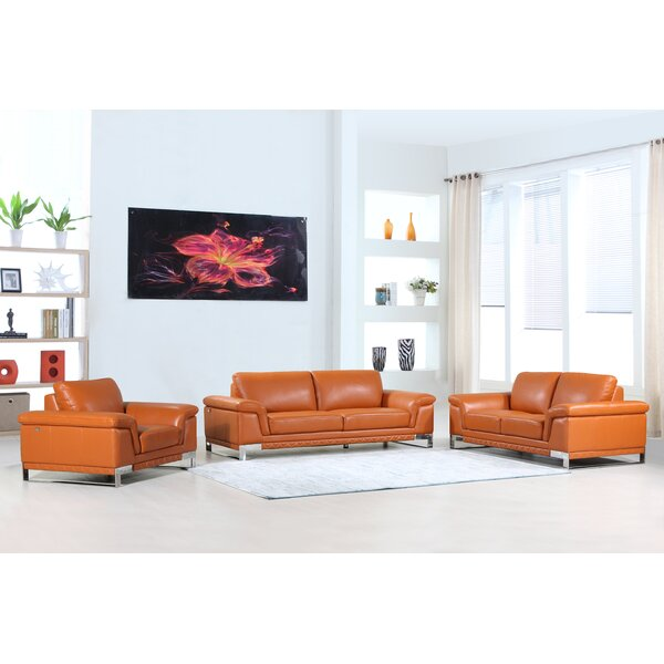 Hawkesbury Common Leather 3 Piece Living Room Set by Orren Ellis