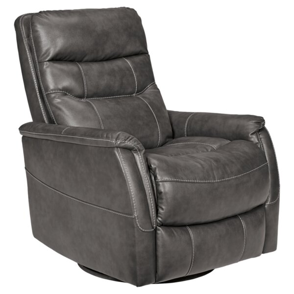 Amburgey Faux Leather Manual Swivel Glider Recliner W002611241
