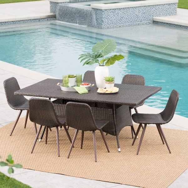 Binette Outdoor Wicker 7 Piece Dining Set by Ivy Bronx