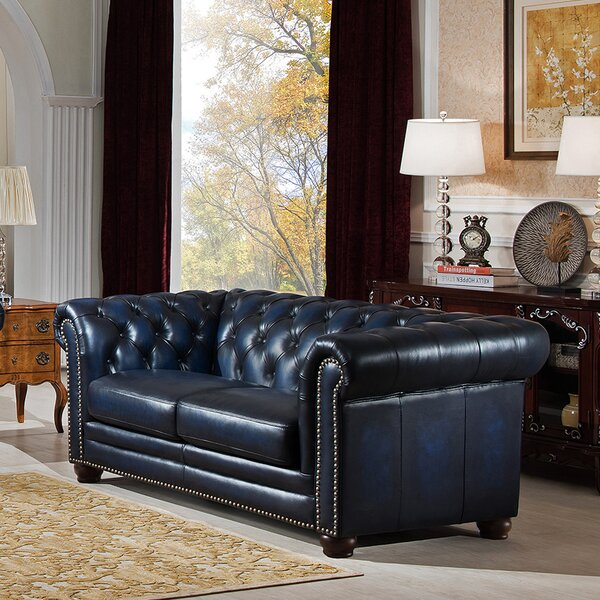 Kraig Leather Chesterfield Loveseat by Canora Grey