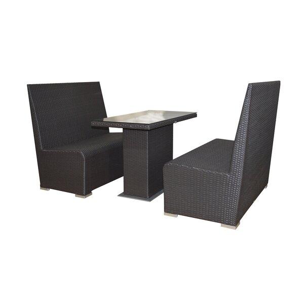 Booth Café 3 Piece Sunbrella Dining Set with Cushions