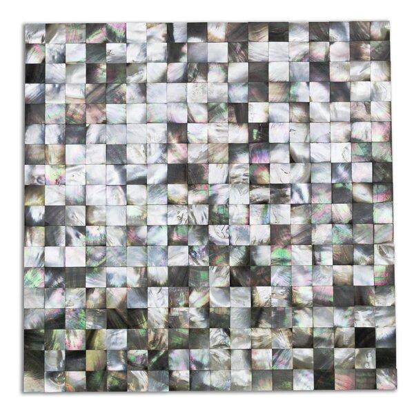 Lokahi Coule Random Sized Glass Pearl Shell Mosaic Tile in Polished Black/Gray/Pearl by Splashback Tile