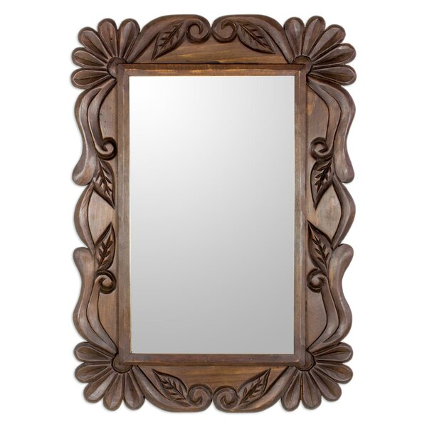 Pettigrew Sunflower Elegance Wood Accent Mirror by Bloomsbury Market