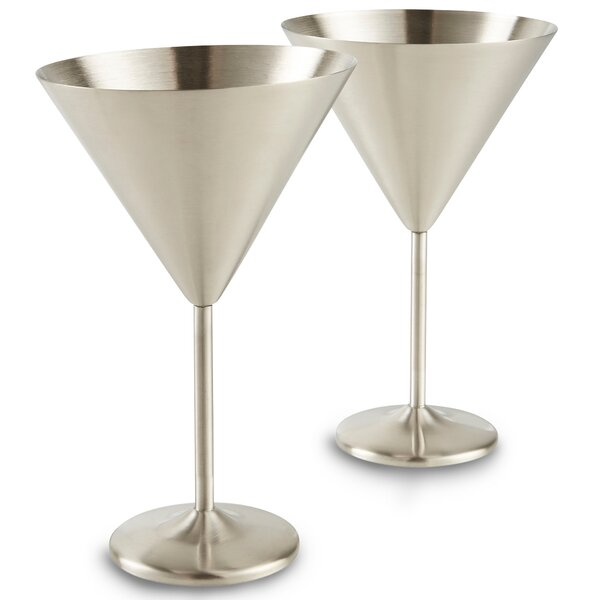 Martini 15 oz. Stainless Steel Cocktail Glass (Set