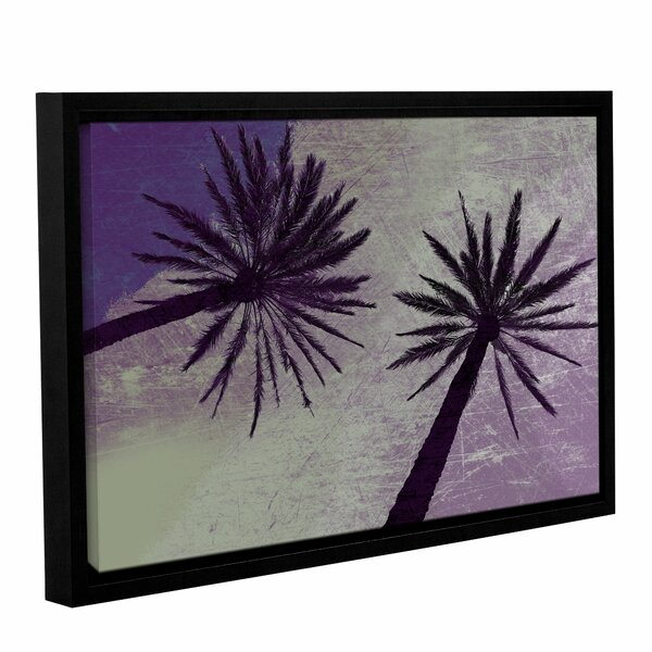 Purple Green Palm Trees Framed Painting Print on Wrapped Canvas by Bay Isle Home