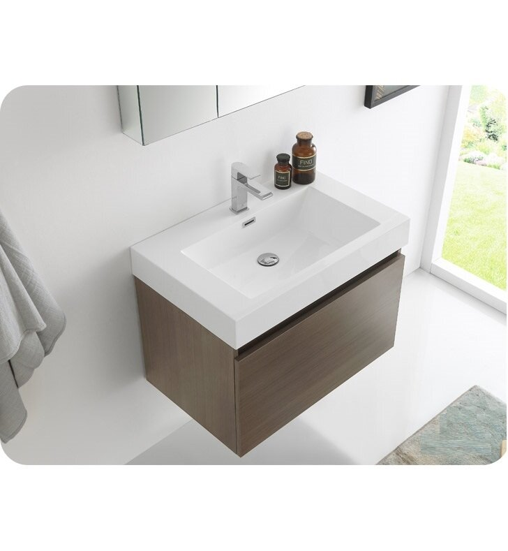 "fresca senza 30"" mezzo single wall mounted modern bathroom vanity"