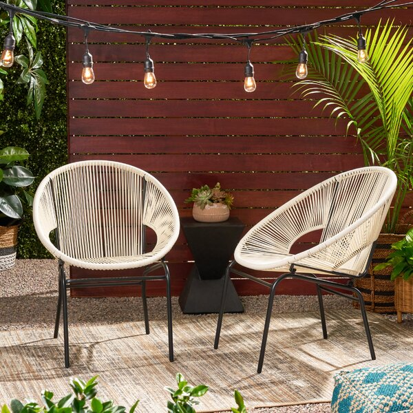 Indira Outdoor Modern Patio Chair (Set Of 2) By Wrought Studio