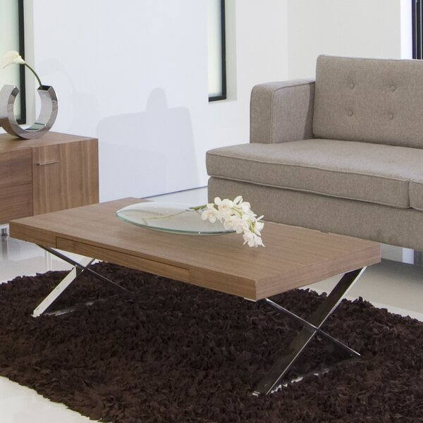 Alexa Cross Legs Coffee Table With Storage By Wade Logan
