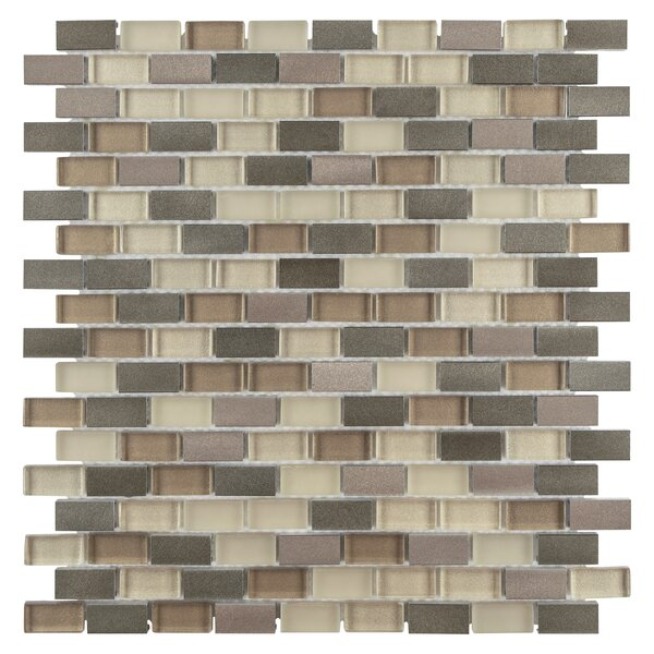 Commix Brushed 0.5 x 1.875  Aluminum/Glass Mosaic Tile in Amador by EliteTile