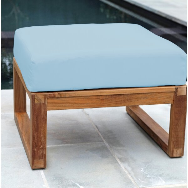 Wawona Outdoor Teak Ottoman with Sunbrella Cushions by Foundry Select