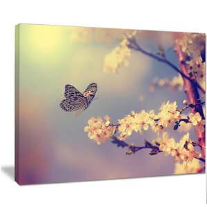 'Vintage Butterfly with Flowers' Graphic Art on Wrapped Canvas by Design Art