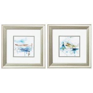 'Malibu Marina' 2 Piece Framed Watercolor Painting Print Set by Longshore Tides