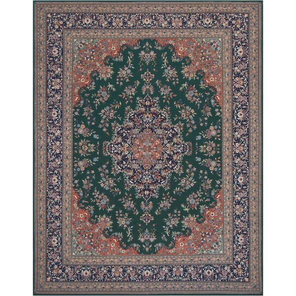 One-of-a-Kind Tabriz Fine Hand-Knotted Wool Forest Green Indoor Area Rug by Mansour