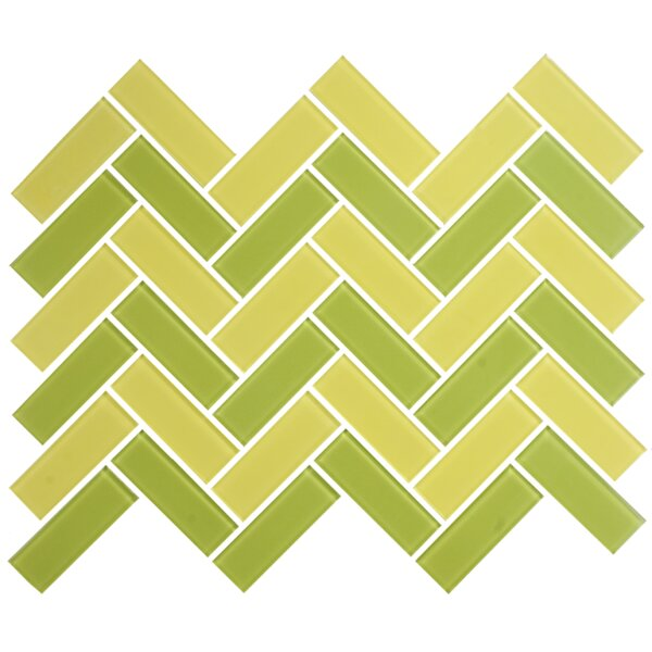 Signature Line Herringbone 1 x 3 Glass Subway Tile in Green/Yellow by Susan Jablon