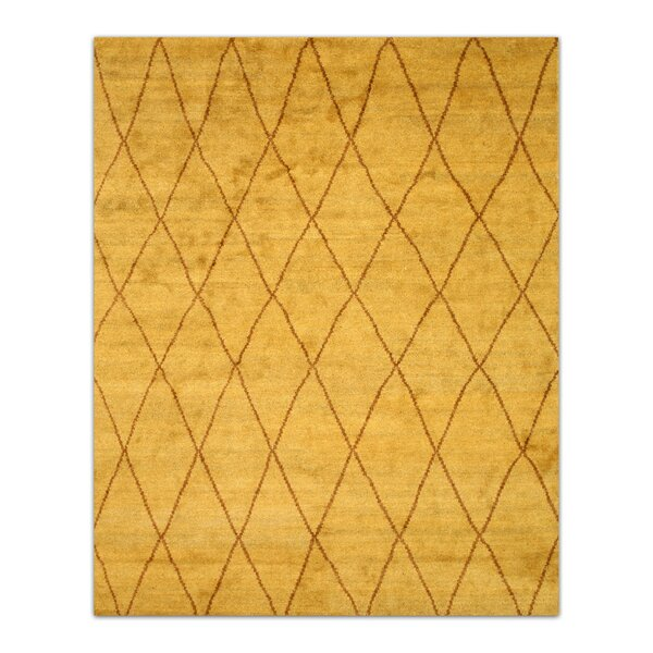 Durrant Hand-Knotted Gold Area Rug by Brayden Studio