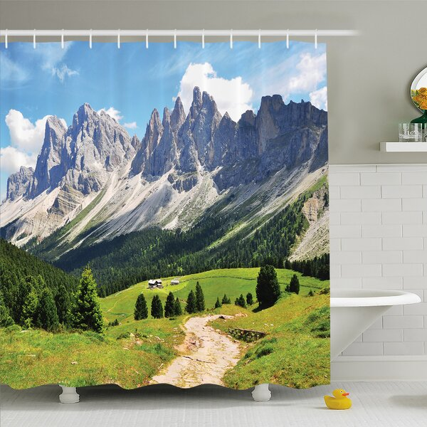 Nash Winding Path into Pine Tree Forest Meadows and Mountain Scenery Print Shower Curtain Set by Latitude Run