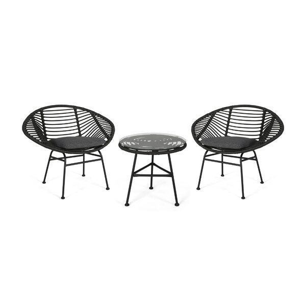 Grunewald 3 Piece Seating Group with Cushions by Bay Isle Home