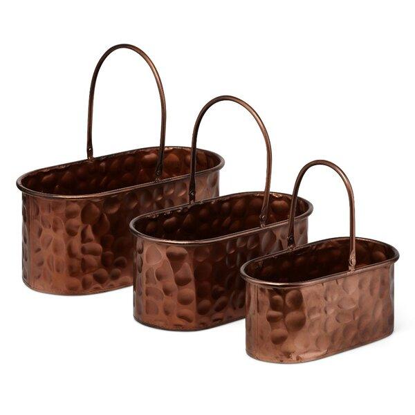 Attractive 3-Piece Wrought Iron Pot Planter Set by Benzara