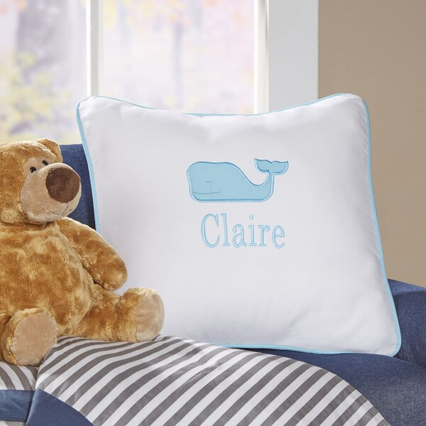 Whale Motif Monogrammed Pillow Cover by Birch Lane Kids™
