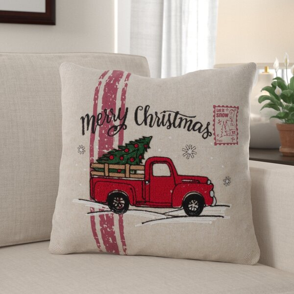 Arredondo Merry Christmas Truck Throw Pillow by The Holiday Aisle