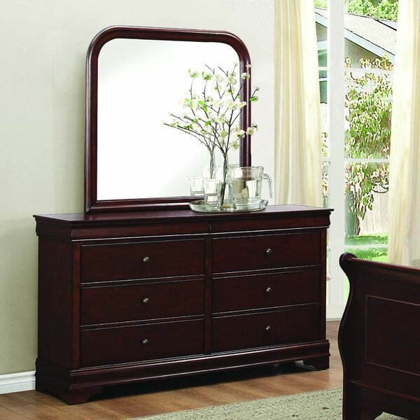 Alivia 6 Drawer Double Dresser with Mirror by Alcott Hill