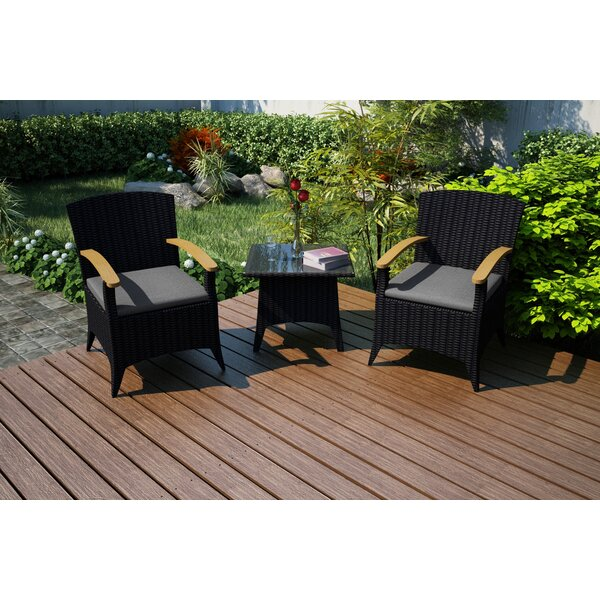 Holbrook 3 Piece Sunbrella Seating Group with Cushions by Rosecliff Heights