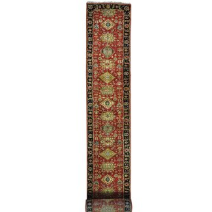 Look for One-of-a-Kind Borel Karajeh Hand-Knotted Runner 2'7 x 22' Wool Red/Yellow/Black Area Rug By Isabelline