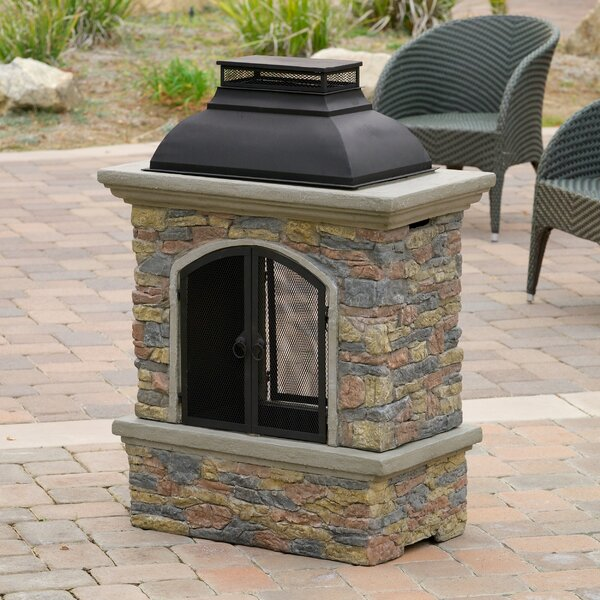 Fresno Cement Wood Burning Outdoor Fireplace by Home Loft Concepts