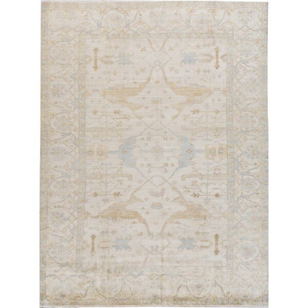 Demirji Oriental Hand-Knotted 10.3' x 13.10' Wool Ivory/Light Blue Area Rug