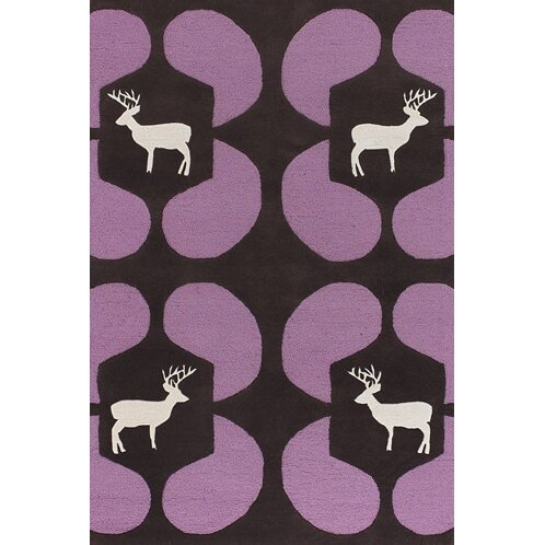 Valencia Purple Deer Novelty Rug by East Urban Home