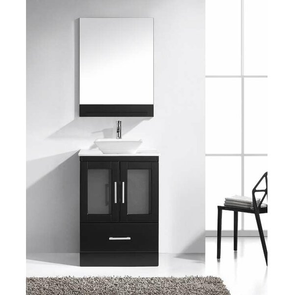 Mordecai 24 W Single Bathroom Vanity Set with White and Mirror by Orren Ellis