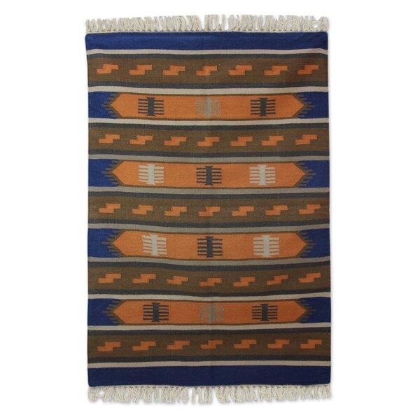 Mraz Dhurrie Horizon Hand-Woven Wool Blue/Orange Area Rug by Loon Peak