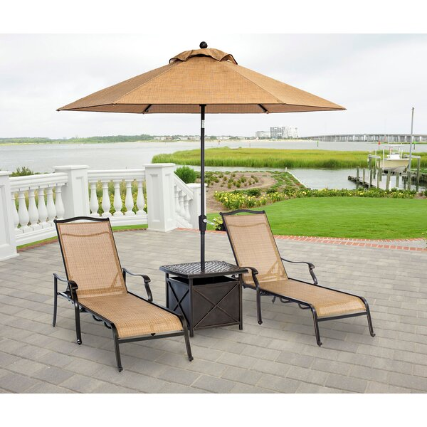 Sandefur Patio Furniture Lawn Chaise Lounge Set with Cushions and Table