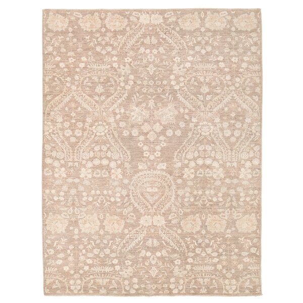 Vegetable Dye Hand-Knotted Ivory / Brown Area Rug by Herat Oriental