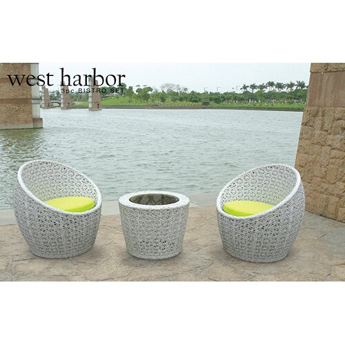 West Harbor 3 Piece Bistro Dining Set with Cushion by Vandue Corporation