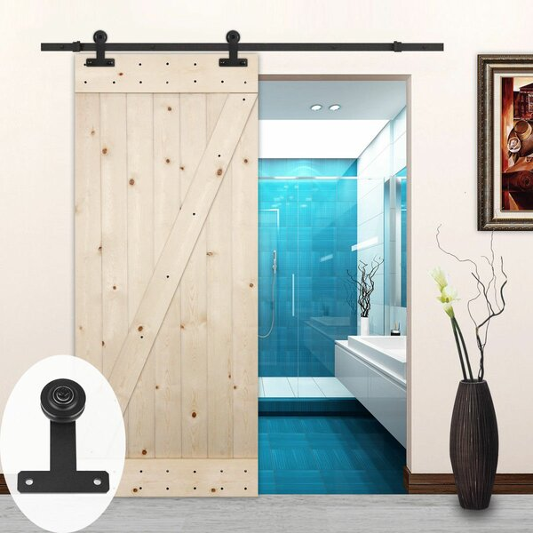 T-Style Sliding Wood Track Kit Barn Door Hardware by Lubann